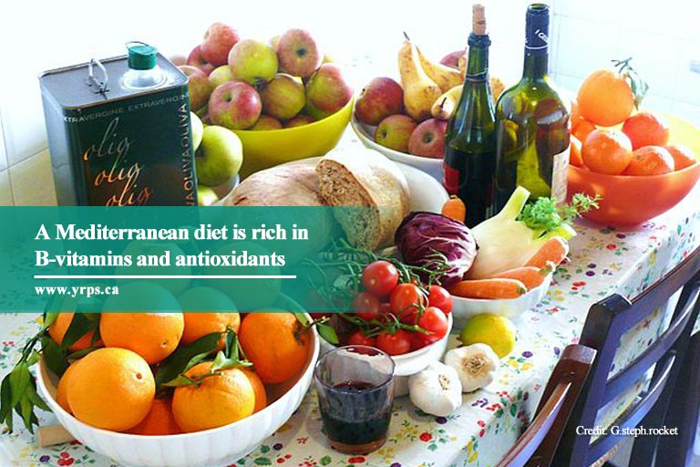 A Mediterranean diet is rich in B-vitamins and antioxidants